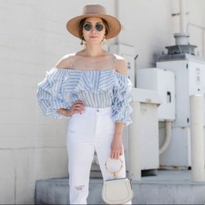 Zara Blue Striped Ruffle Off The Shoulder Top